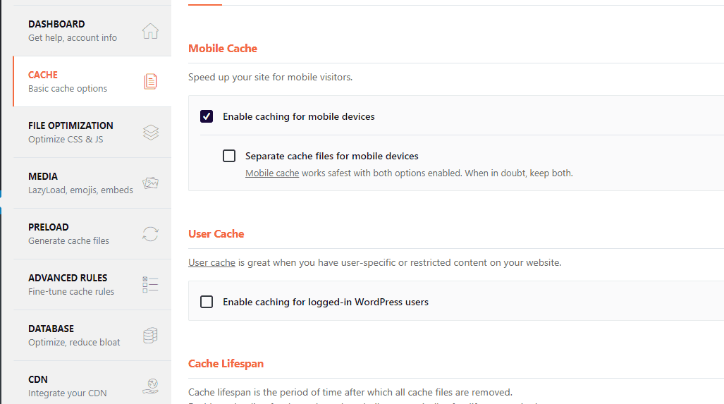 wp rocket cache settings
